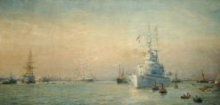 Renown Leaving Portsmouth Harbour | William Lionel Wyllie | Oil Painting
