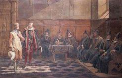 Gustav Vasa before the council in Lubeck   Johan Gustaf Sandberg   Oil Painting