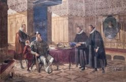 The first Swedish translation of the Bible   Johan Gustaf Sandberg   Oil Painting
