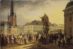 Swedish Folk around the Statue of Gustav I   Johan Gustaf Sandberg   Oil Painting