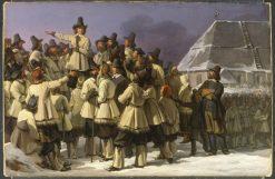 King Gustav Vasa of Sweden Addressing Men from Dalarna in Mora   Johan Gustaf Sandberg   Oil Painting