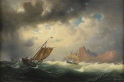 Ship in stormy sea | Marcus Larson | Oil Painting