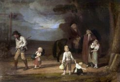 The Progress of Intemperance -  The Ruined Family   Edward Villiers Rippingille   Oil Painting