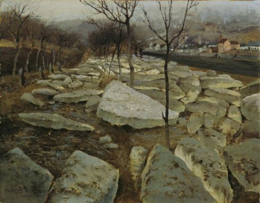 Ice floes on the banks of the Thaya   Theodor von Hörmann   Oil Painting