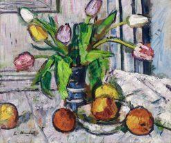 Tulips in a blue vase | George Leslie Hunter | Oil Painting