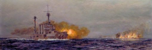 Destruction of the German Raider Leopard by HMS Achilles and HMS Dundee | William Lionel Wyllie | Oil Painting