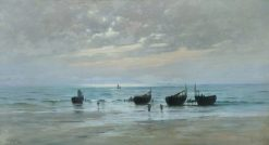 French Fishing Boats at Low Tide | William Lionel Wyllie | Oil Painting
