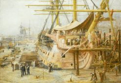 The Nelson Touch - Restoring HMS Victory | William Lionel Wyllie | Oil Painting