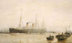 The Teutonic Leaving Liverpool | William Lionel Wyllie | Oil Painting