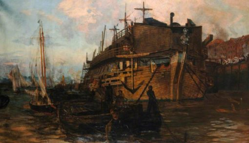 The Gloucester Hulk at Chatham   William Lionel Wyllie   Oil Painting
