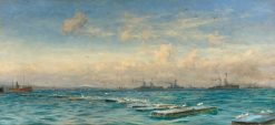 The German High Sea Fleet Caged in Scapa Flow | William Lionel Wyllie | Oil Painting