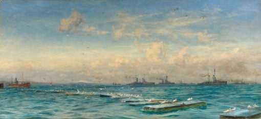 The German High Sea Fleet Caged in Scapa Flow   William Lionel Wyllie   Oil Painting
