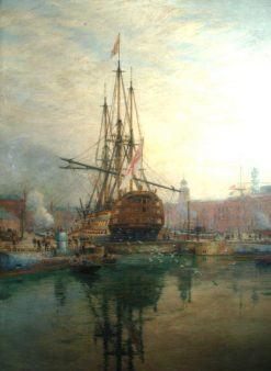 The Main Yard of HMS Victory Being Crossed | William Lionel Wyllie | Oil Painting