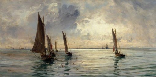 The Portsmouth Fishing Fleet -  The Breeze Falls Light | William Lionel Wyllie | Oil Painting