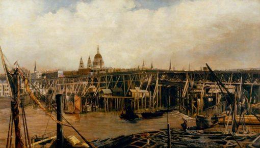 The Rebuilding of Blackfriars Bridge | William Lionel Wyllie | Oil Painting