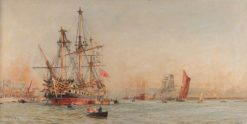 Wooden Warships on the Medway | William Lionel Wyllie | Oil Painting