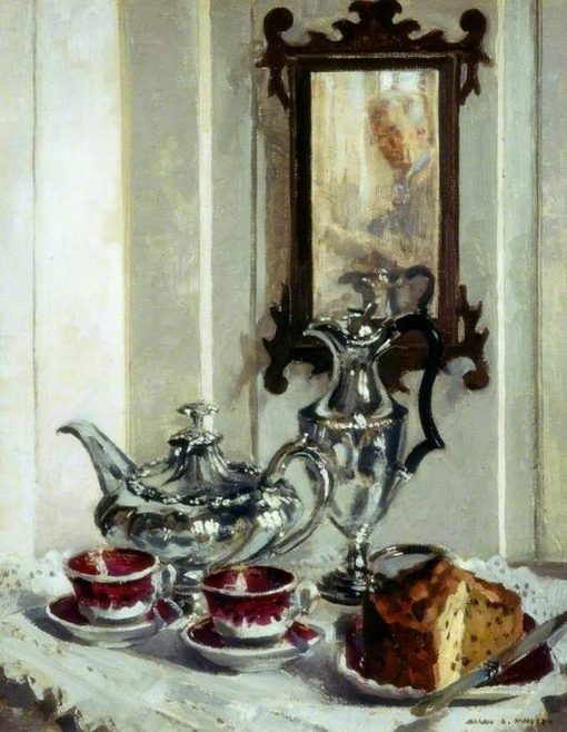 Silver and Spode | Allan Douglass Mainds | Oil Painting