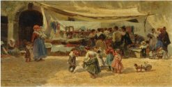 The Marketplace   Mariano Barbasan   Oil Painting