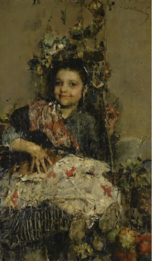 A Girl   Antonio Mancini   Oil Painting