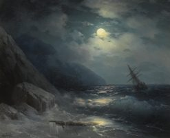 Moonlit Landscape with a Ship | Ivan Constantinovich Aivazovsky | Oil Painting