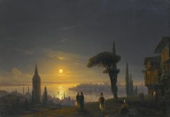Galata Tower on a Moonlit Night   Ivan Constantinovich Aivazovsky   Oil Painting