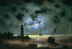 The Seashore with a Lighthouse at Night | Ivan Constantinovich Aivazovsky | Oil Painting