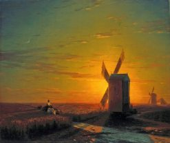 Windmills in the Ukrainian Steppe at Sunset | Ivan Constantinovich Aivazovsky | Oil Painting