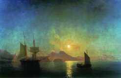 View of Vesuvius on a Moonlit Night | Ivan Constantinovich Aivazovsky | Oil Painting