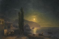 Moonrise over Mount Ayu Dag | Ivan Constantinovich Aivazovsky | Oil Painting