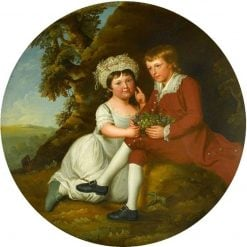 Portrait of a Boy and a Girl with a Basket of Fruit in a Landscape | Robert Edge Pine | Oil Painting