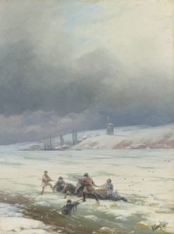 Dragging a Horse Cart from an Ice Hole | Ivan Constantinovich Aivazovsky | Oil Painting