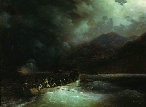 A Cutter Breaking Through the Turkish Fleet | Ivan Constantinovich Aivazovsky | Oil Painting