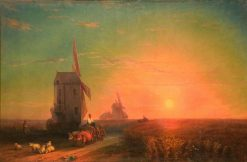 Windmill at Sunset | Ivan Constantinovich Aivazovsky | Oil Painting