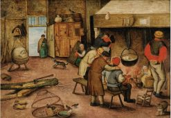 Peasants Warming Themselves Beside a Hearth | Pieter Brueghel the Younger | Oil Painting