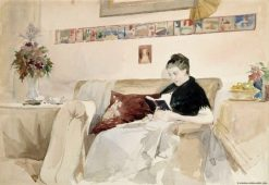 Artists Wife Reading on the Sofa | Albert Edelfelt | Oil Painting