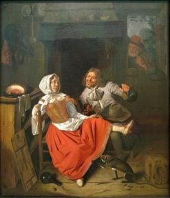 The Licentious Kitchen Maid   Pieter Gerritz. van Roestraten   Oil Painting