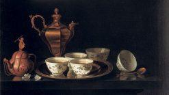 Still Life with Tea Set   Pieter Gerritz. van Roestraten   Oil Painting