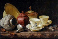 Still Life with Tea Cups | Pieter Gerritz. van Roestraten | Oil Painting
