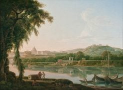 A distant view of Rome across the Tiber | Jacob More | Oil Painting