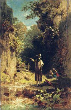 The Angler | Carl Spitzweg | Oil Painting