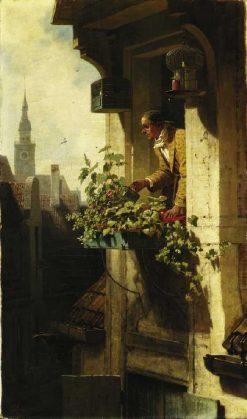 Man Watering Flowers | Carl Spitzweg | Oil Painting