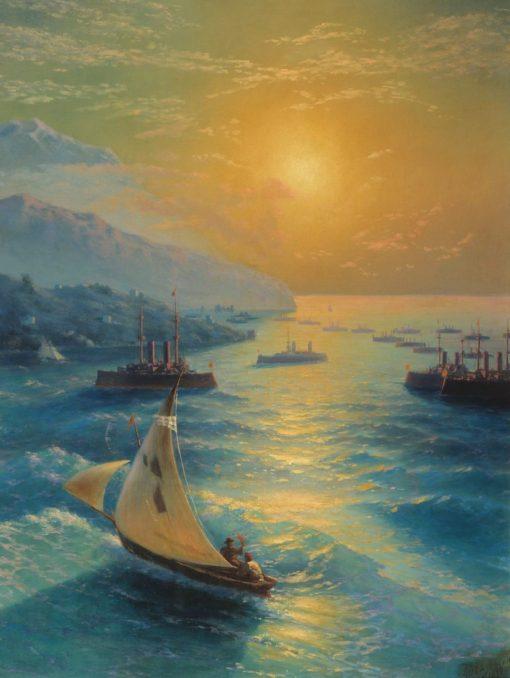 Ships off the Coast of Feodosia | Ivan Constantinovich Aivazovsky | Oil Painting