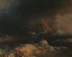 The Wreck of the Ship Ingermanland in 1842 | Ivan Constantinovich Aivazovsky | Oil Painting
