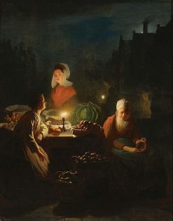A Vegetable Seller by Candlelight | Johannes Rosierse | Oil Painting