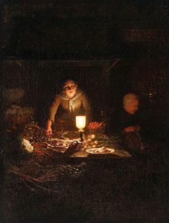 Interior Candelit Scene of Kitchen | Johannes Rosierse | Oil Painting