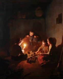 Children with chicks in the barn by candlelight | Johannes Rosierse | Oil Painting