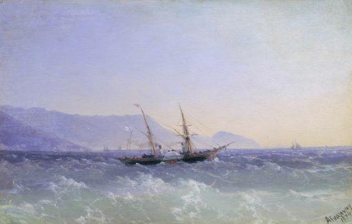 Crimean Landscape with a Sailing Ship | Ivan Constantinovich Aivazovsky | Oil Painting