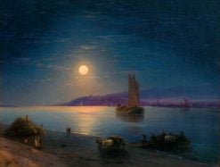 A Moonlit Night on the Dnieper   Ivan Constantinovich Aivazovsky   Oil Painting