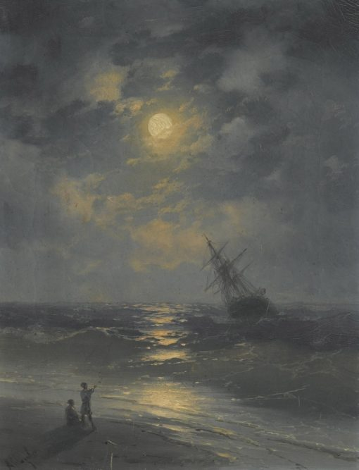 A Moonlit Night on the Sea   Ivan Constantinovich Aivazovsky   Oil Painting