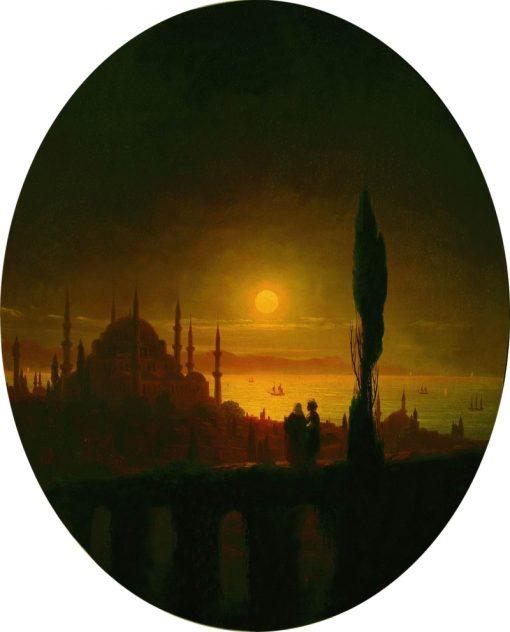 Moonlit Night in Constantinople   Ivan Constantinovich Aivazovsky   Oil Painting